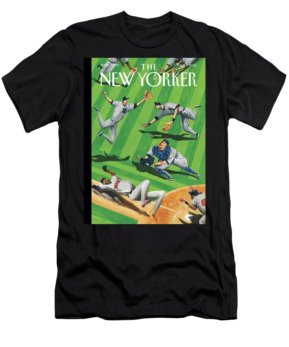 Yankees Men's T-Shirt (Athletic Fit) featuring the painting Baseball Ballet by Mark Ulriksen