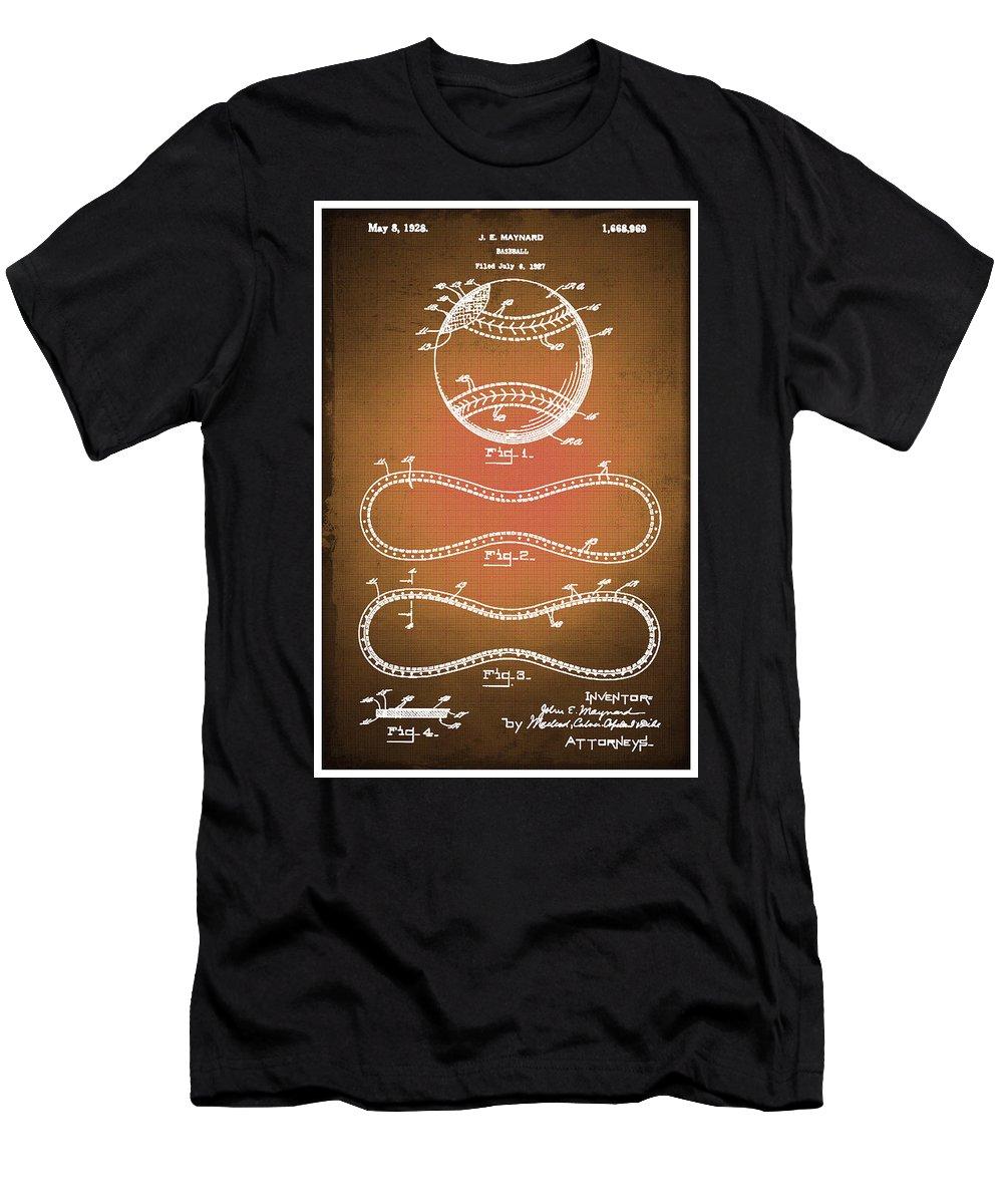 Baseball Men's T-Shirt (Athletic Fit) featuring the drawing Baseball Patent Blueprint Drawing Sepia by Tony Rubino