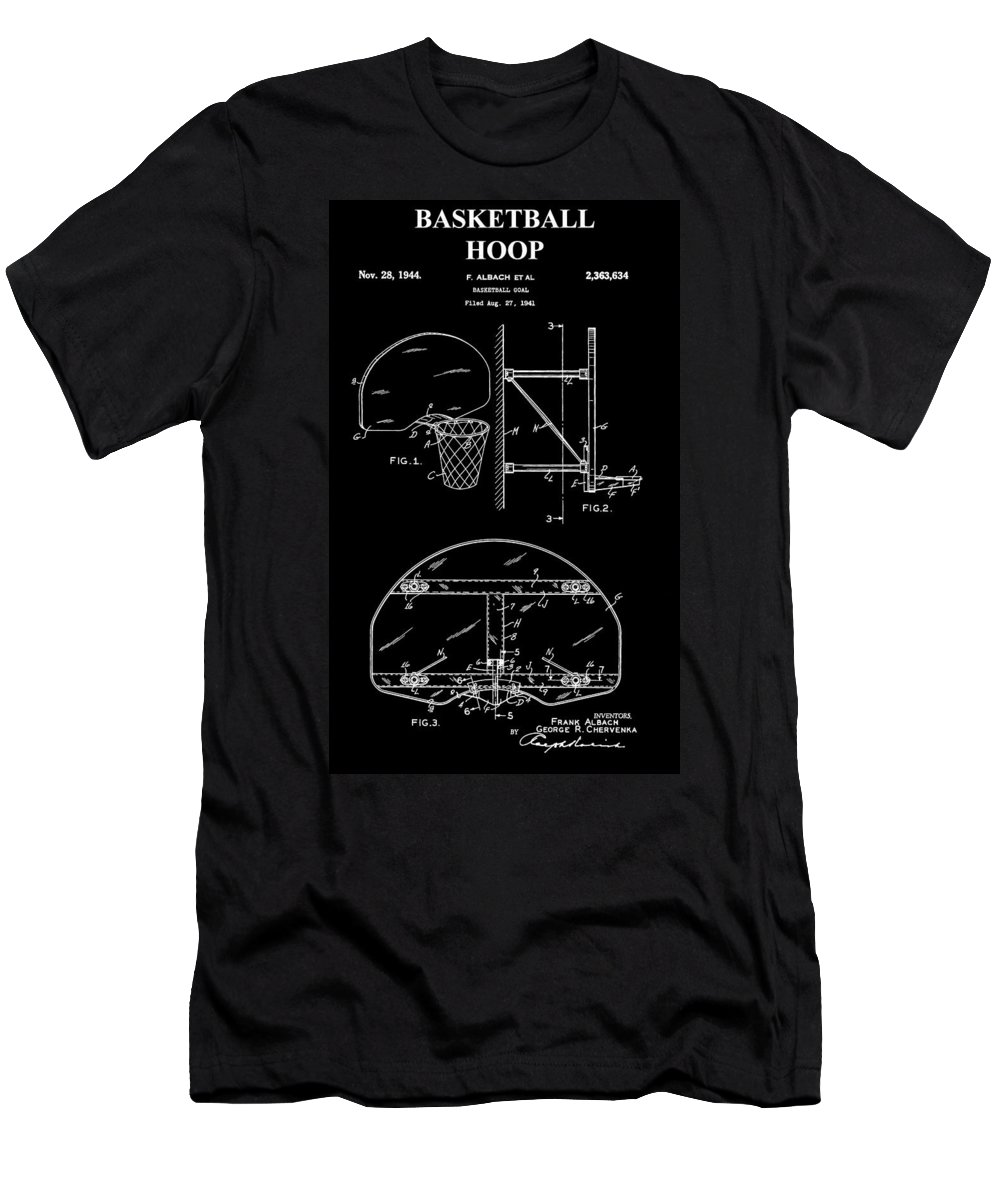 Basketball Hoop Patent Men's T-Shirt (Athletic Fit) featuring the photograph Basketball Hoop Patent by Dan Sproul