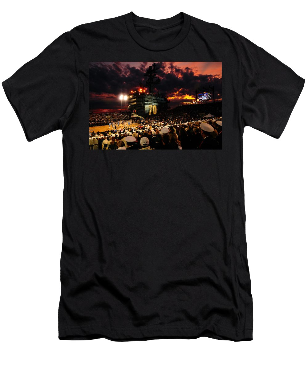 Uss Carl Vinson Men's T-Shirt (Athletic Fit) featuring the photograph Basketball On A Carrier by Mountain Dreams