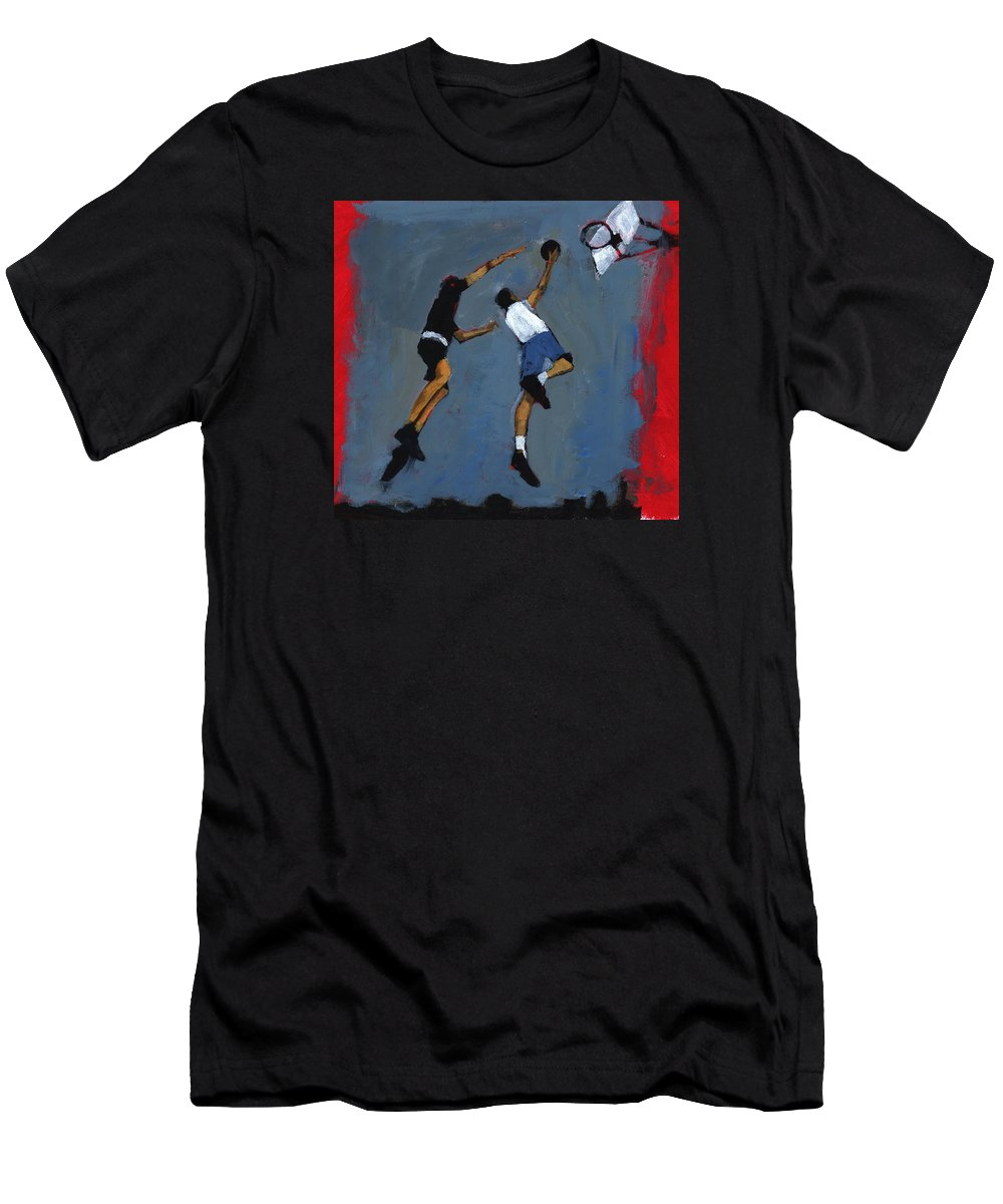 Jump Men's T-Shirt (Athletic Fit) featuring the photograph Basketball Players by Paul Powis