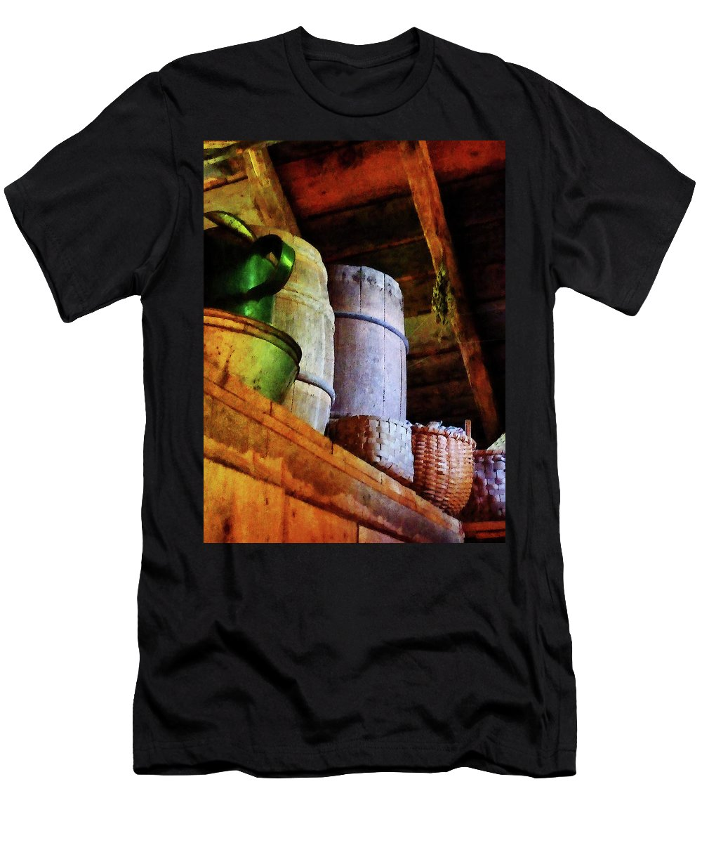 Americana Men's T-Shirt (Athletic Fit) featuring the photograph Baskets And Barrels In Attic by Susan Savad