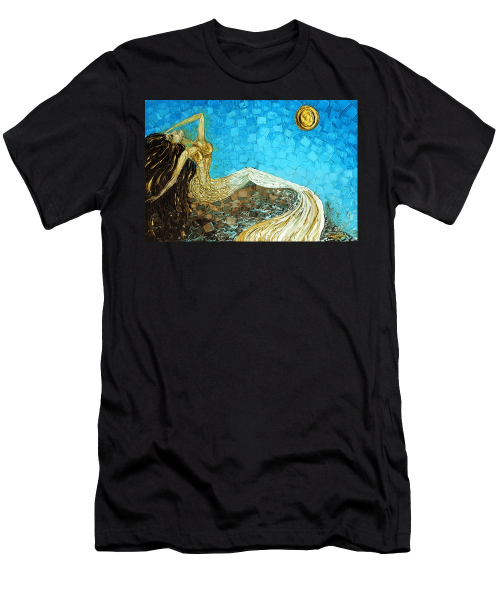 Mermaid Men's T-Shirt (Athletic Fit) featuring the painting Basking by Susanna Shaposhnikova