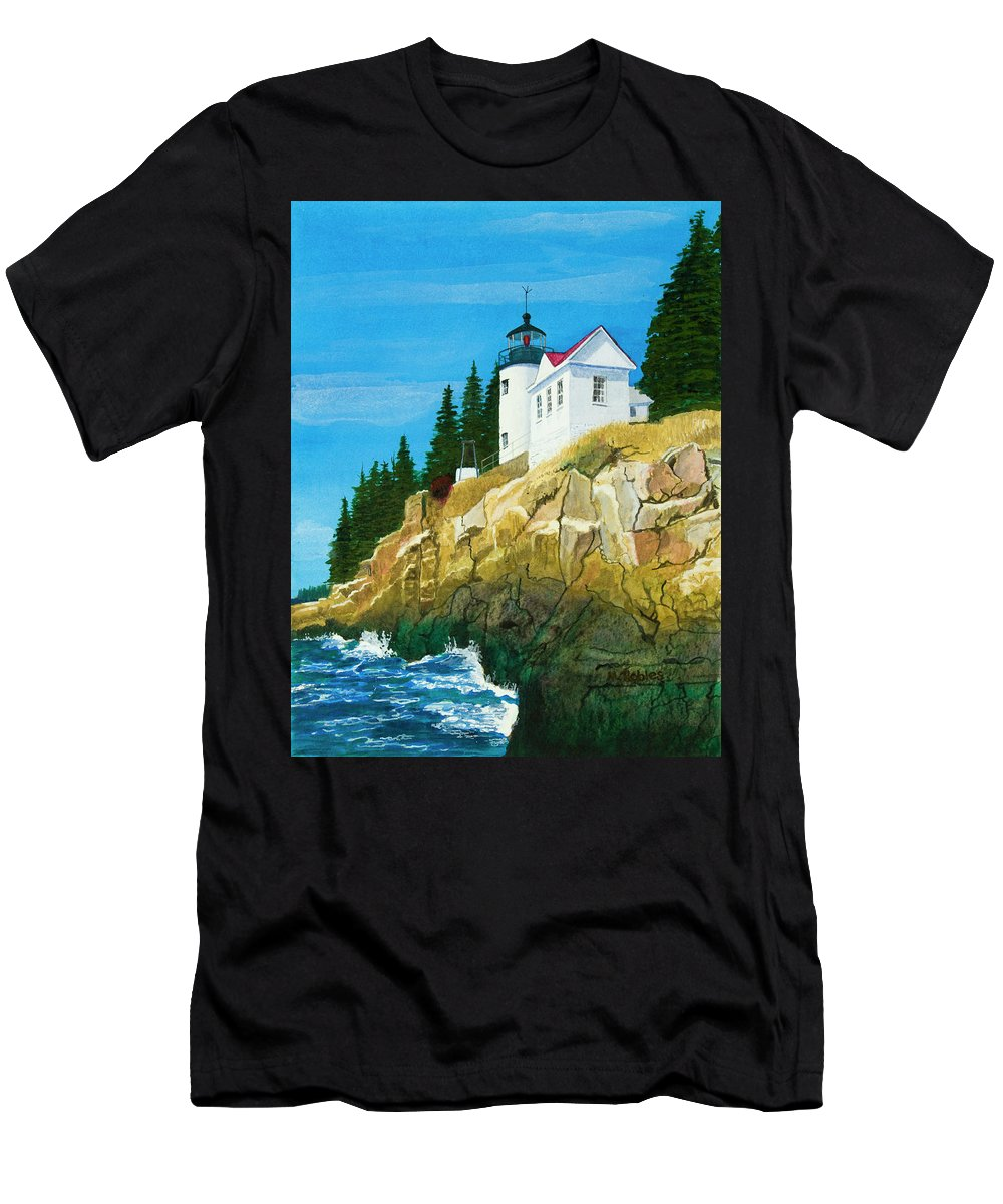 Lighthouse Men's T-Shirt (Athletic Fit) featuring the painting Bass Harbor Lighthouse by Mike Robles