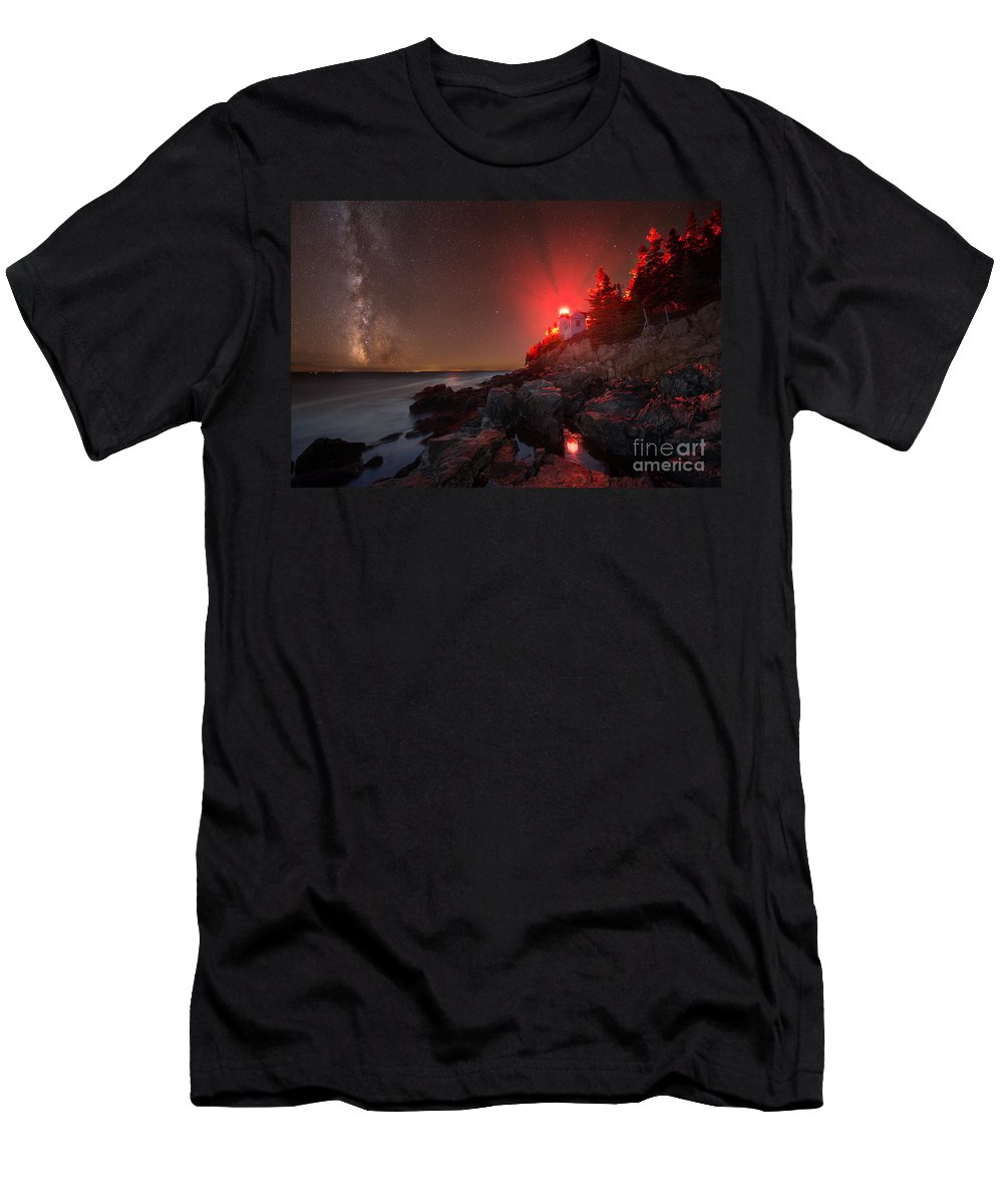 Bass Harbor Lighthouse Men's T-Shirt (Athletic Fit) featuring the photograph Bass Harbor Lighthouse Milky Way by Michael Ver Sprill