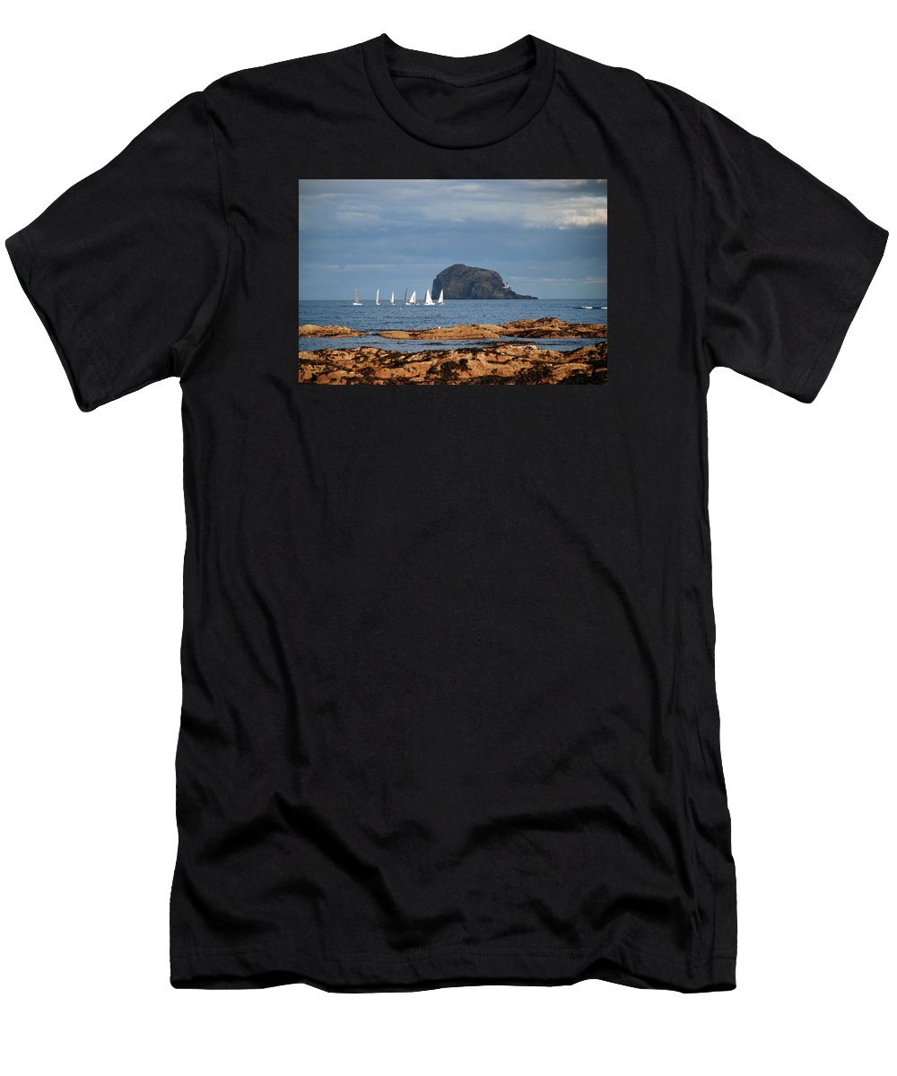 Bass Men's T-Shirt (Athletic Fit) featuring the pyrography Bass Rock And Sail Boats by Michelle Bailey