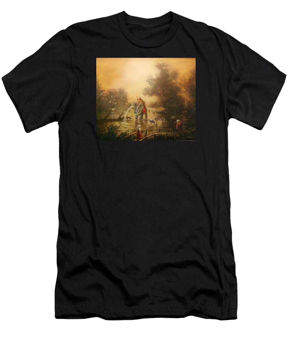 Fantasy Men's T-Shirt (Athletic Fit) featuring the painting Bathing The Royal Elephant by Tom Shropshire