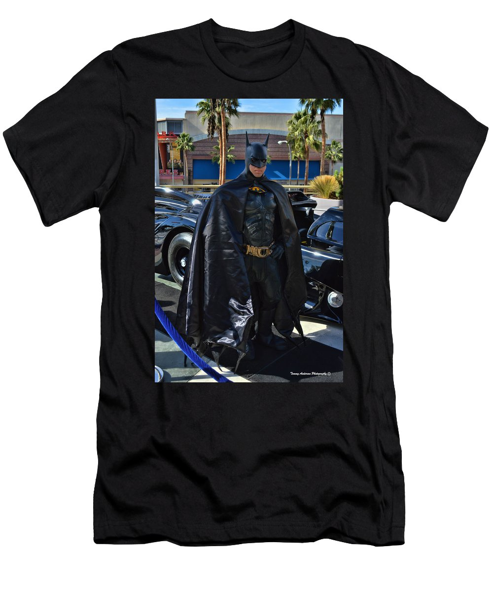 Batmobile Men's T-Shirt (Athletic Fit) featuring the photograph Batmobile And Batman by Tommy Anderson
