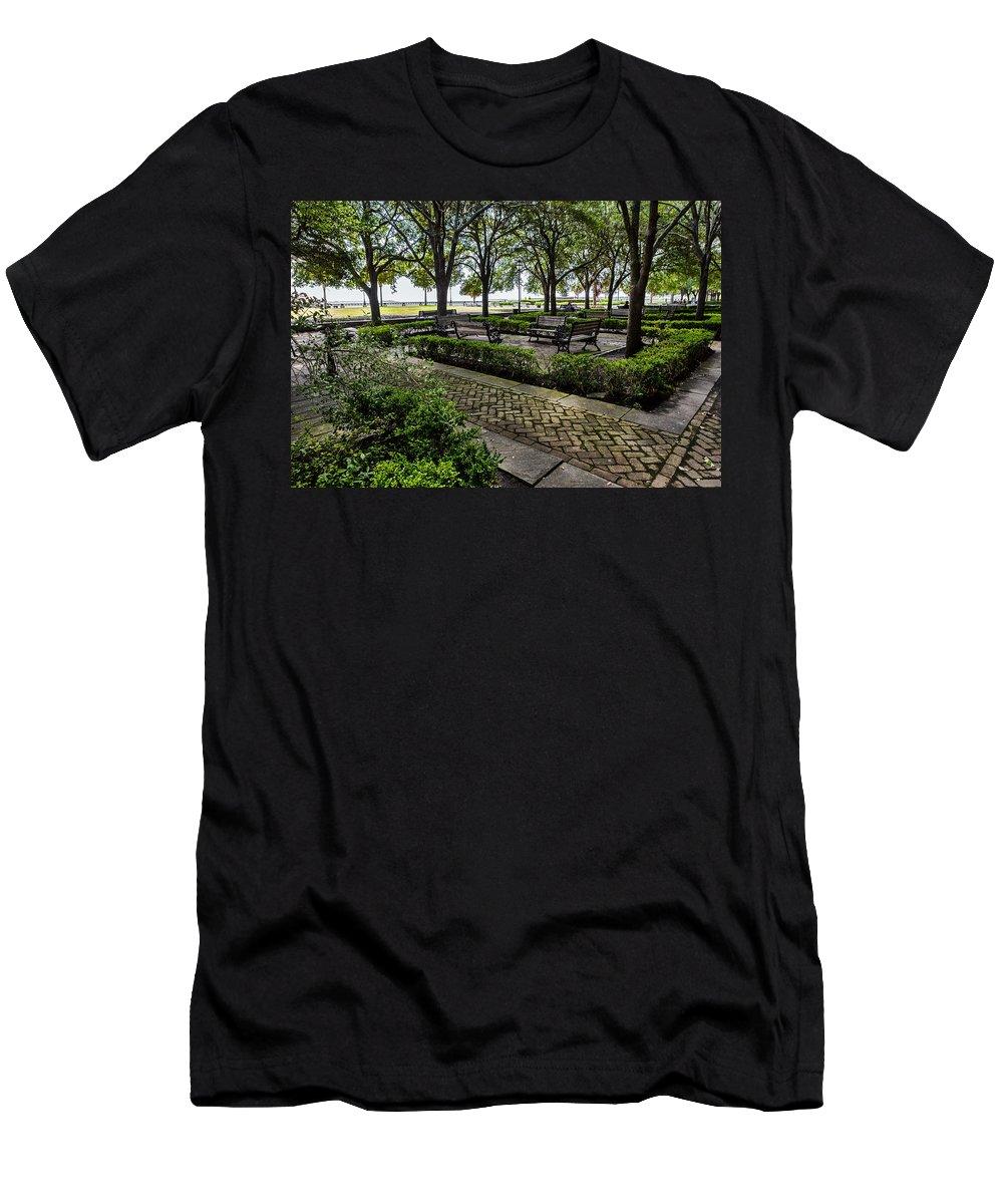Battery Park Men's T-Shirt (Athletic Fit) featuring the photograph Battery Park by Sennie Pierson