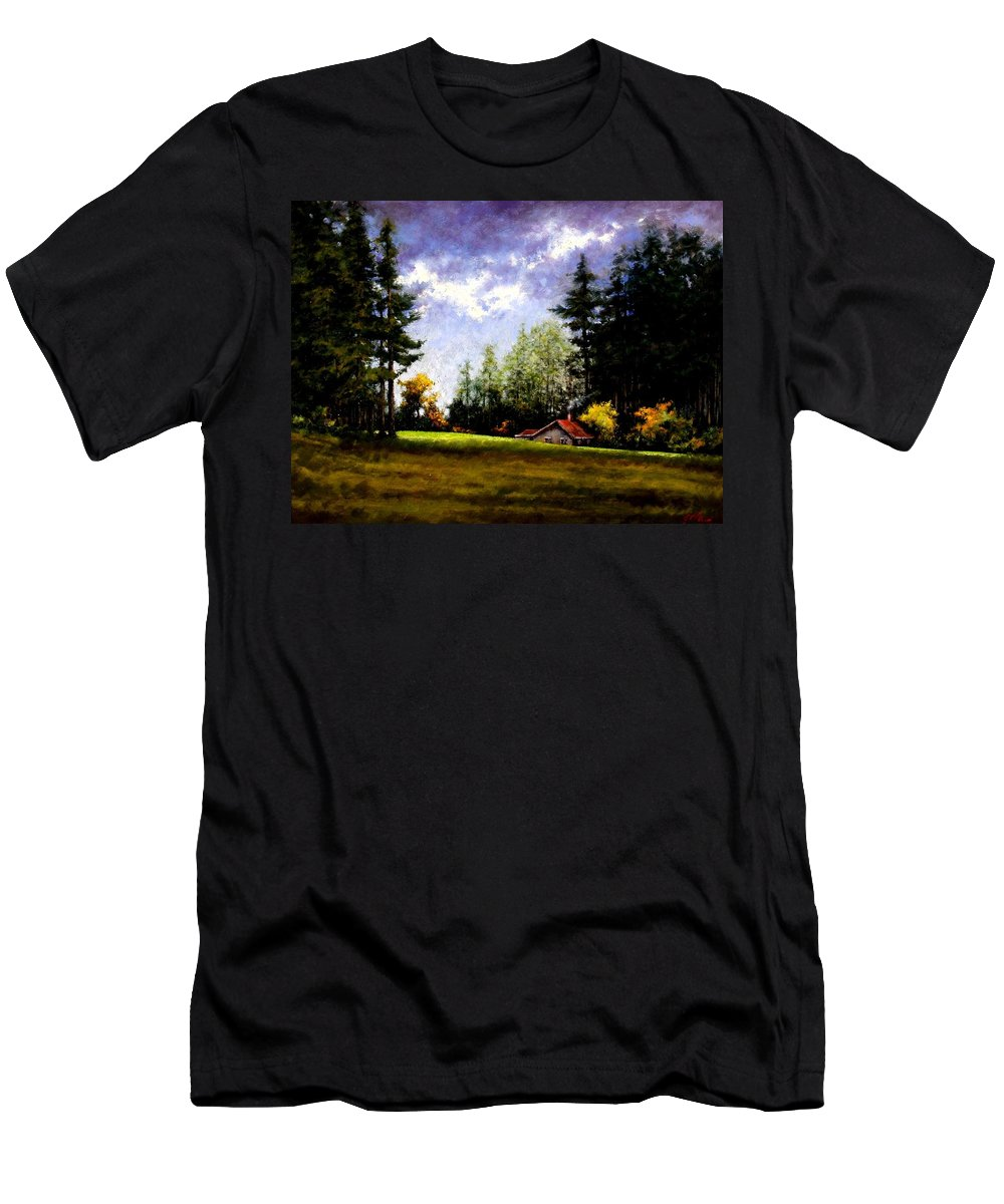 Landscape Men's T-Shirt (Athletic Fit) featuring the painting Battle Ground Park by Jim Gola