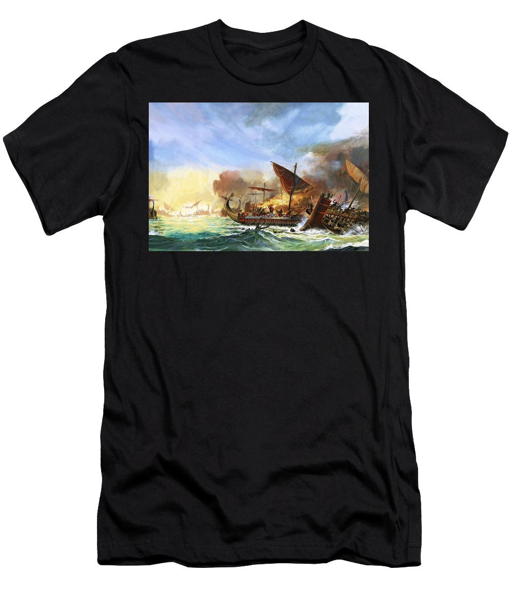 Persia Men's T-Shirt (Athletic Fit) featuring the painting Battle Of Salamis by Andrew Howat