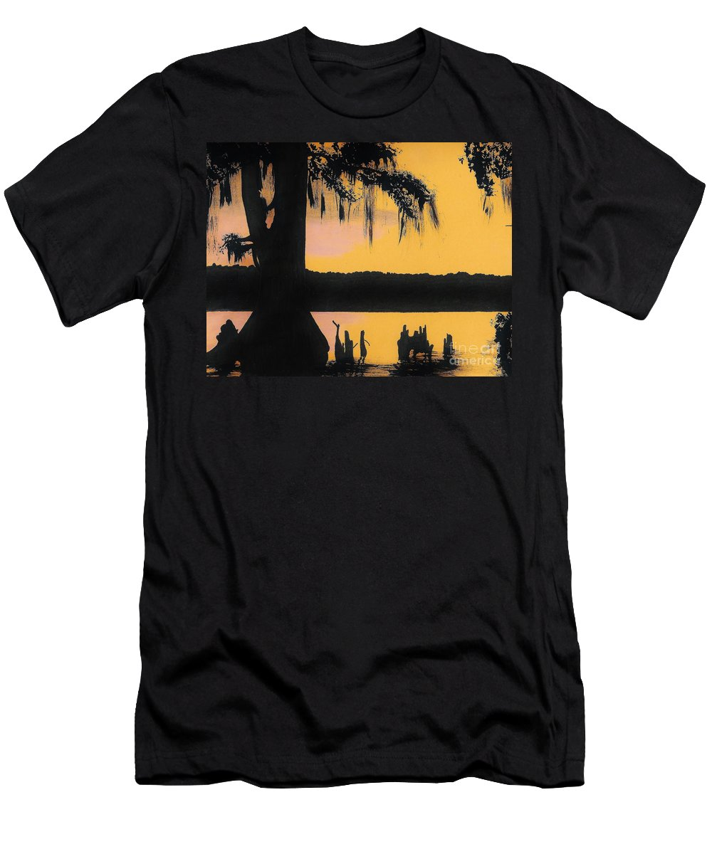 Sunset Men's T-Shirt (Athletic Fit) featuring the drawing Bayou Sunset by D Hackett