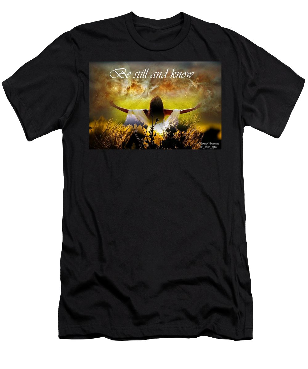 Be Still Men's T-Shirt (Athletic Fit) featuring the digital art Be Still And Know by Jewell McChesney