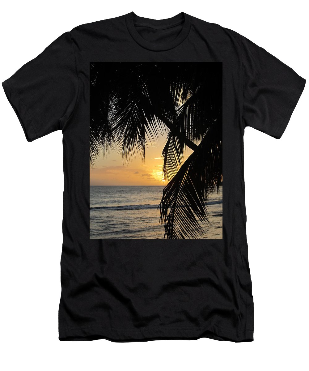 Beach Men's T-Shirt (Athletic Fit) featuring the photograph Beach At Sunset 1 by Anita Burgermeister