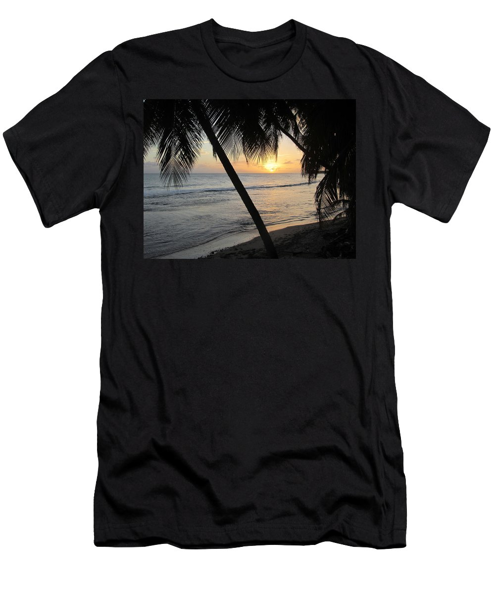Beach Men's T-Shirt (Athletic Fit) featuring the photograph Beach At Sunset 4 by Anita Burgermeister