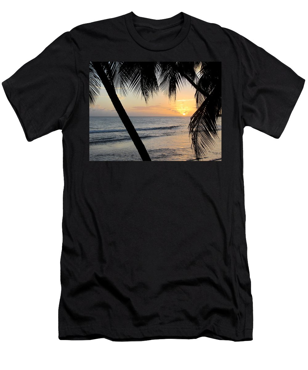 Beach Men's T-Shirt (Athletic Fit) featuring the photograph Beach At Sunset 5 by Anita Burgermeister