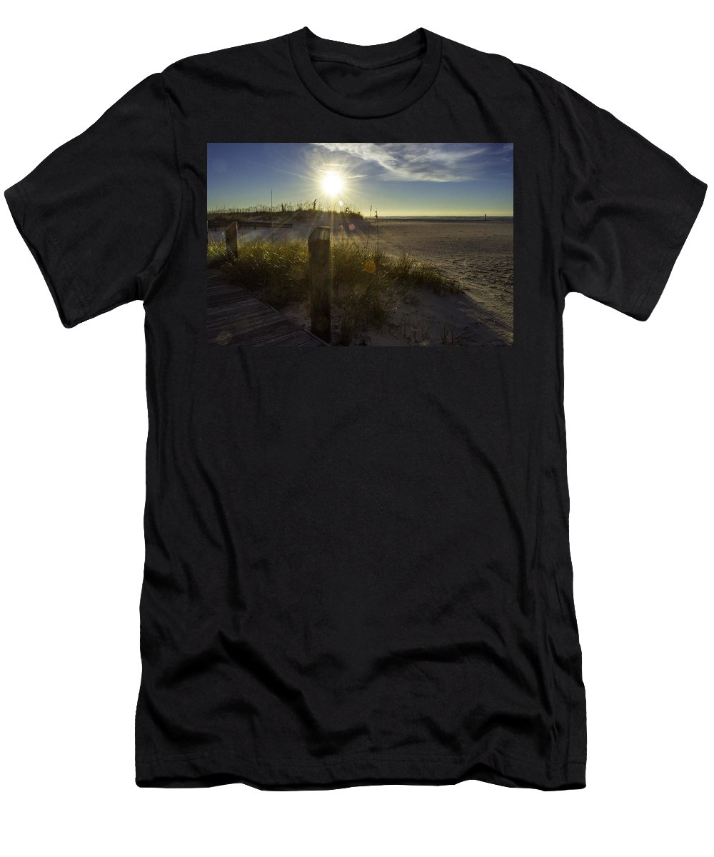 Palm Men's T-Shirt (Athletic Fit) featuring the digital art Beach Glare by Michael Thomas