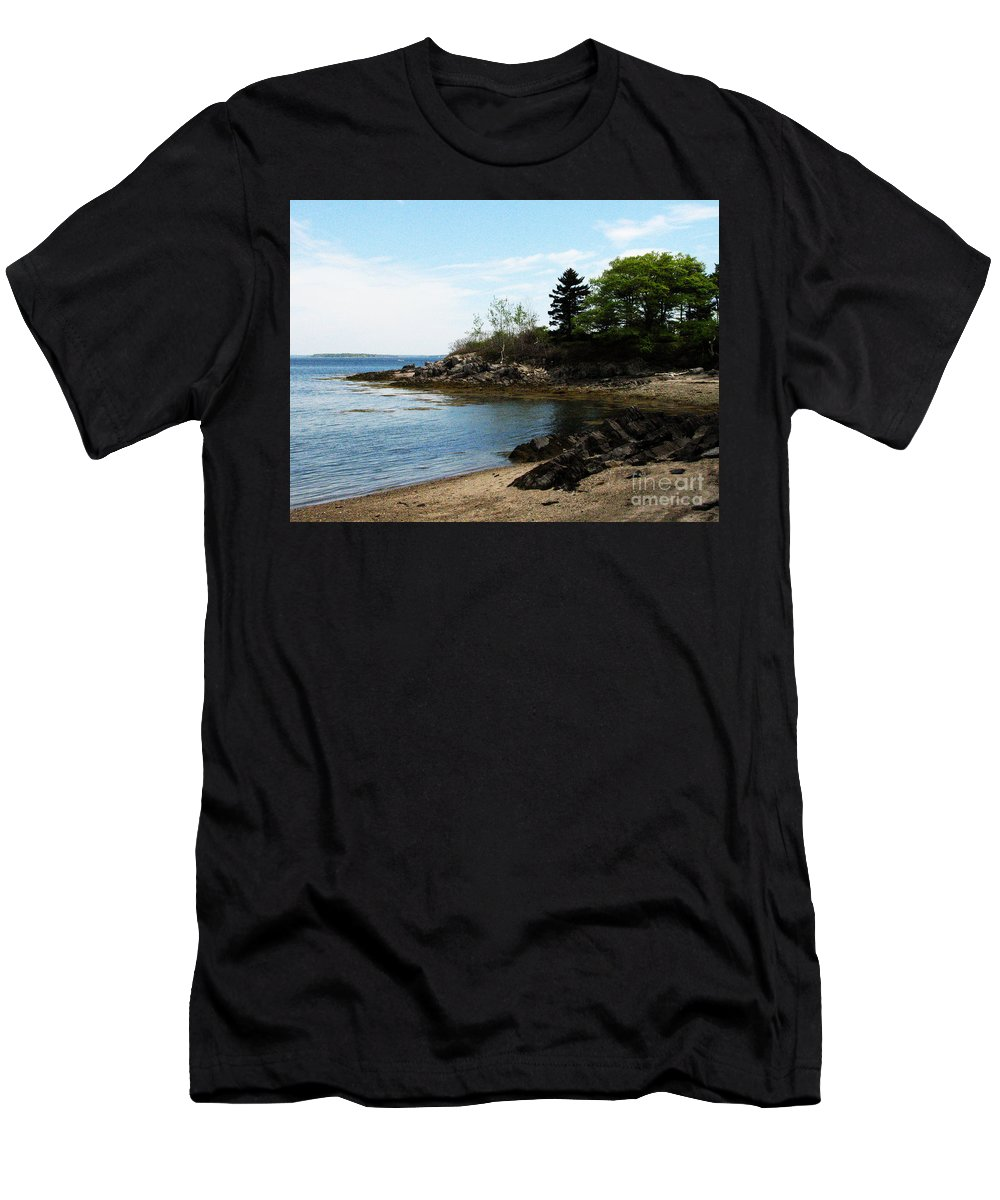 Maine Men's T-Shirt (Athletic Fit) featuring the photograph Beach In Maine by DejaVu Designs