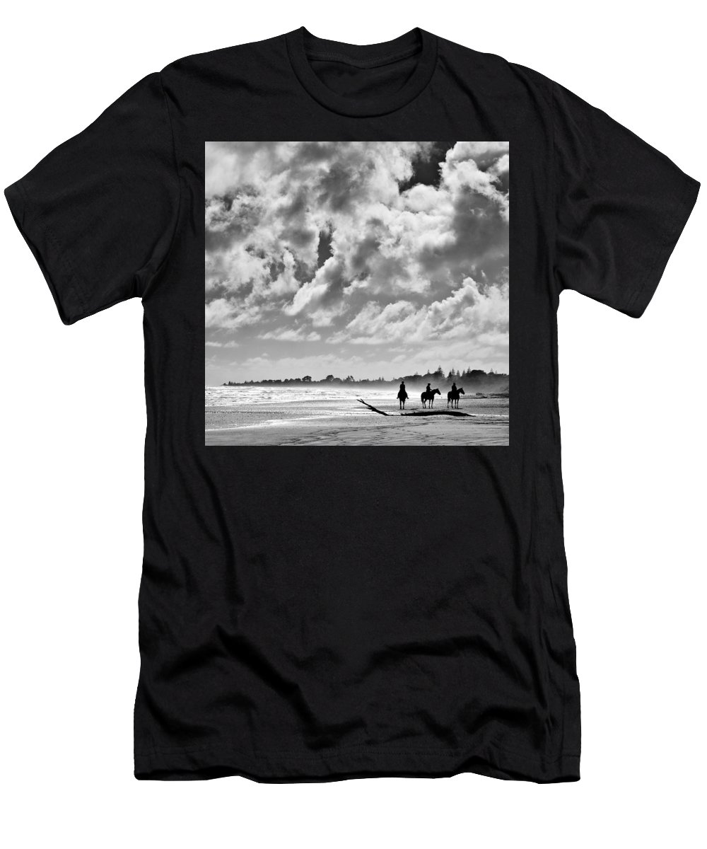 Ride Men's T-Shirt (Athletic Fit) featuring the photograph Beach Riders by Dave Bowman