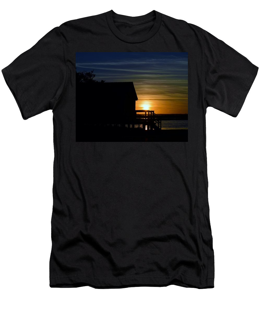 Silhouette Men's T-Shirt (Athletic Fit) featuring the photograph Beach Shack Silhouette by William Bartholomew