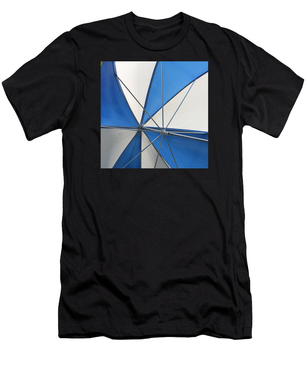 Beach Umbrella Men's T-Shirt (Athletic Fit) featuring the photograph Beach Umbrella by Art Block Collections