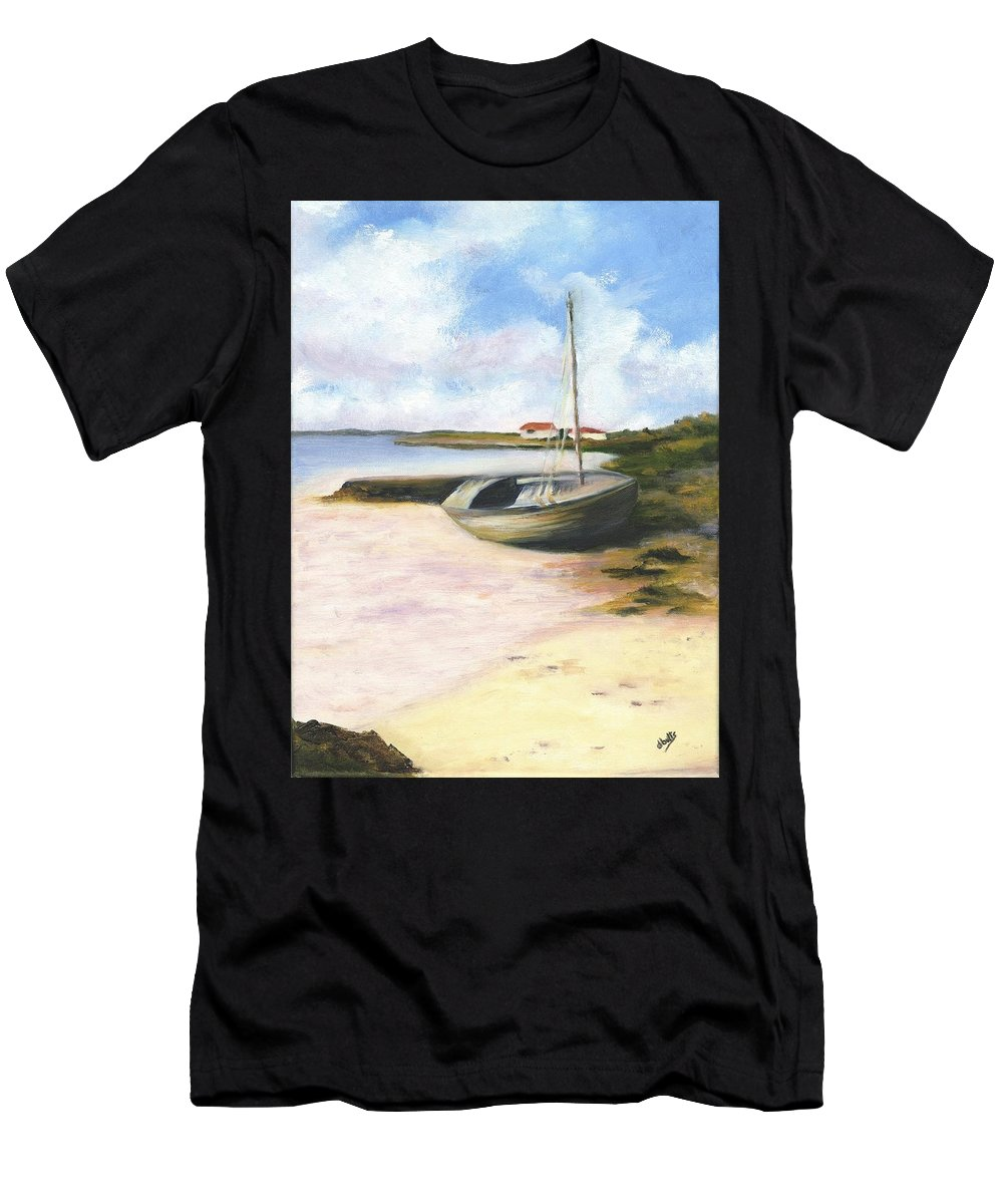 Beach Men's T-Shirt (Athletic Fit) featuring the painting Beached by Deborah Butts