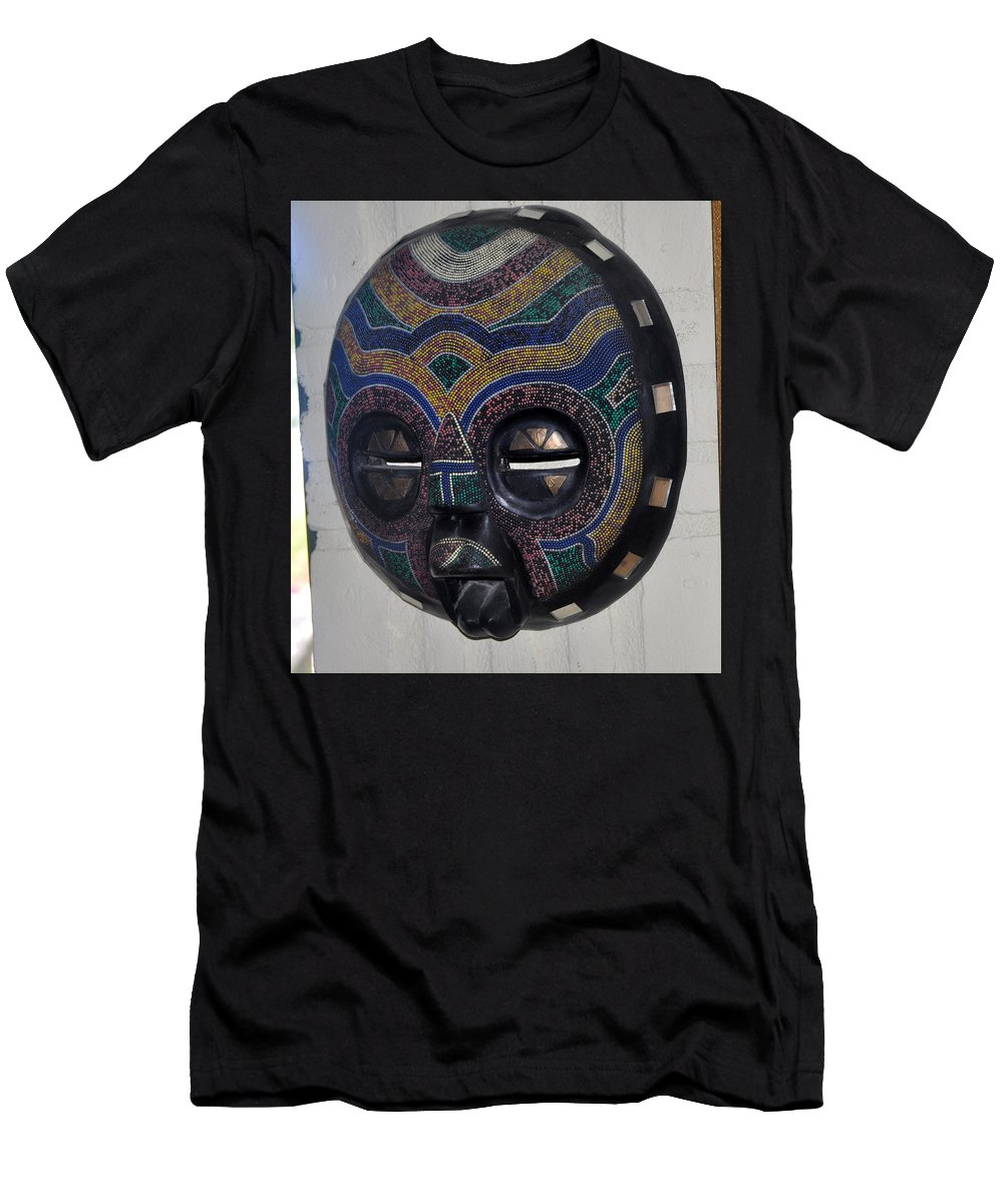 Mask Men's T-Shirt (Athletic Fit) featuring the photograph Handbeaded Mask Mexico by Jay Milo