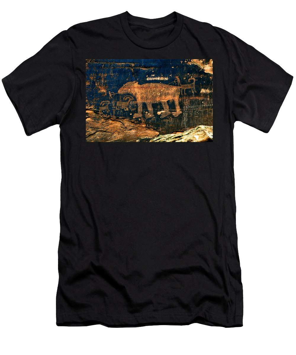 Petroglyph Men's T-Shirt (Athletic Fit) featuring the photograph Bear Wall by Thomas Levine