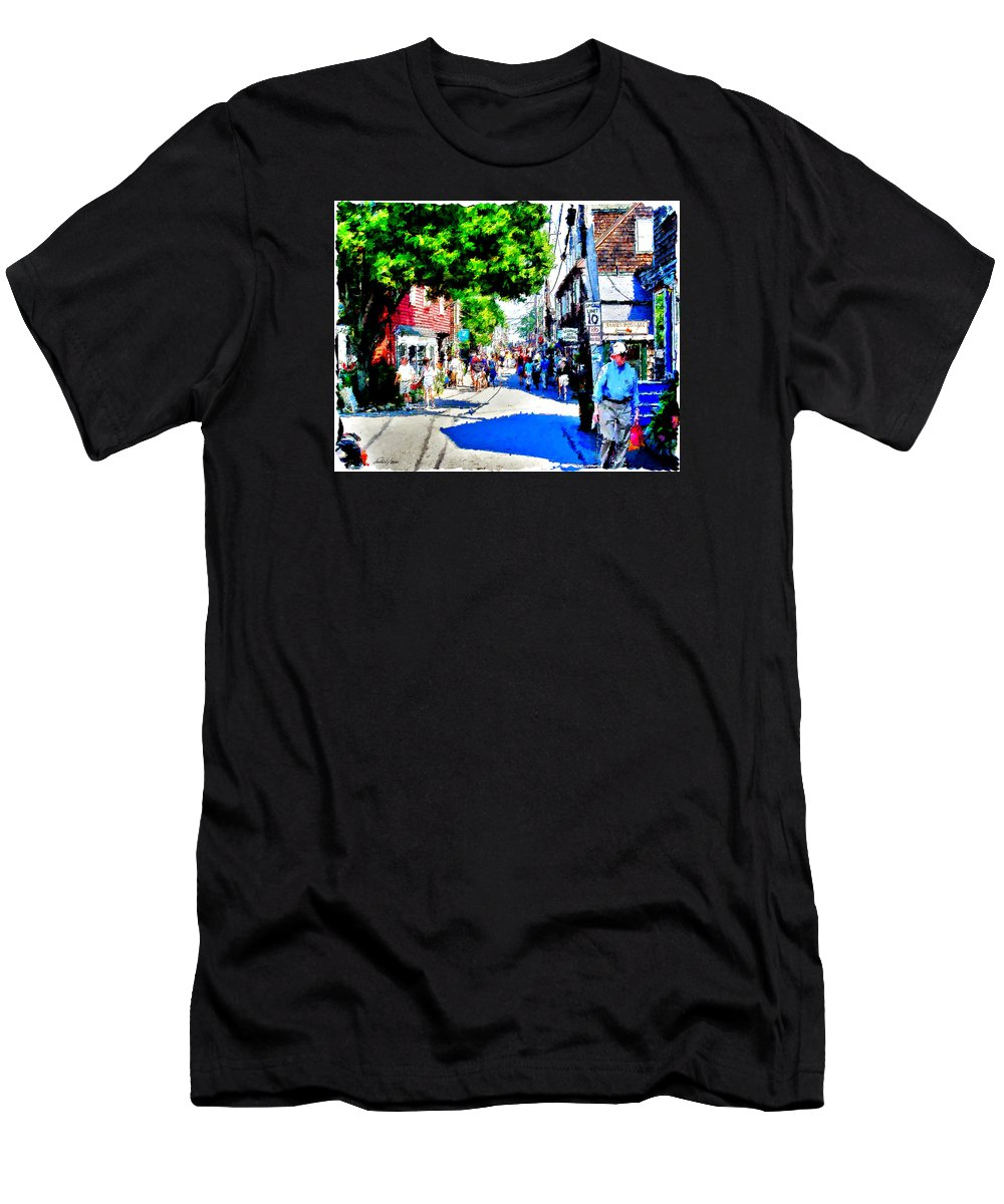 Rockport Men's T-Shirt (Athletic Fit) featuring the digital art Bearskin Neck Rockport Ma by Pachek