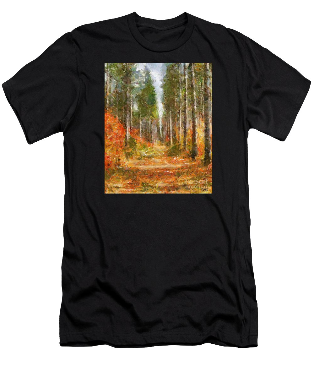 Landscapes Men's T-Shirt (Athletic Fit) featuring the painting Beautiful Autumn by Dragica Micki Fortuna