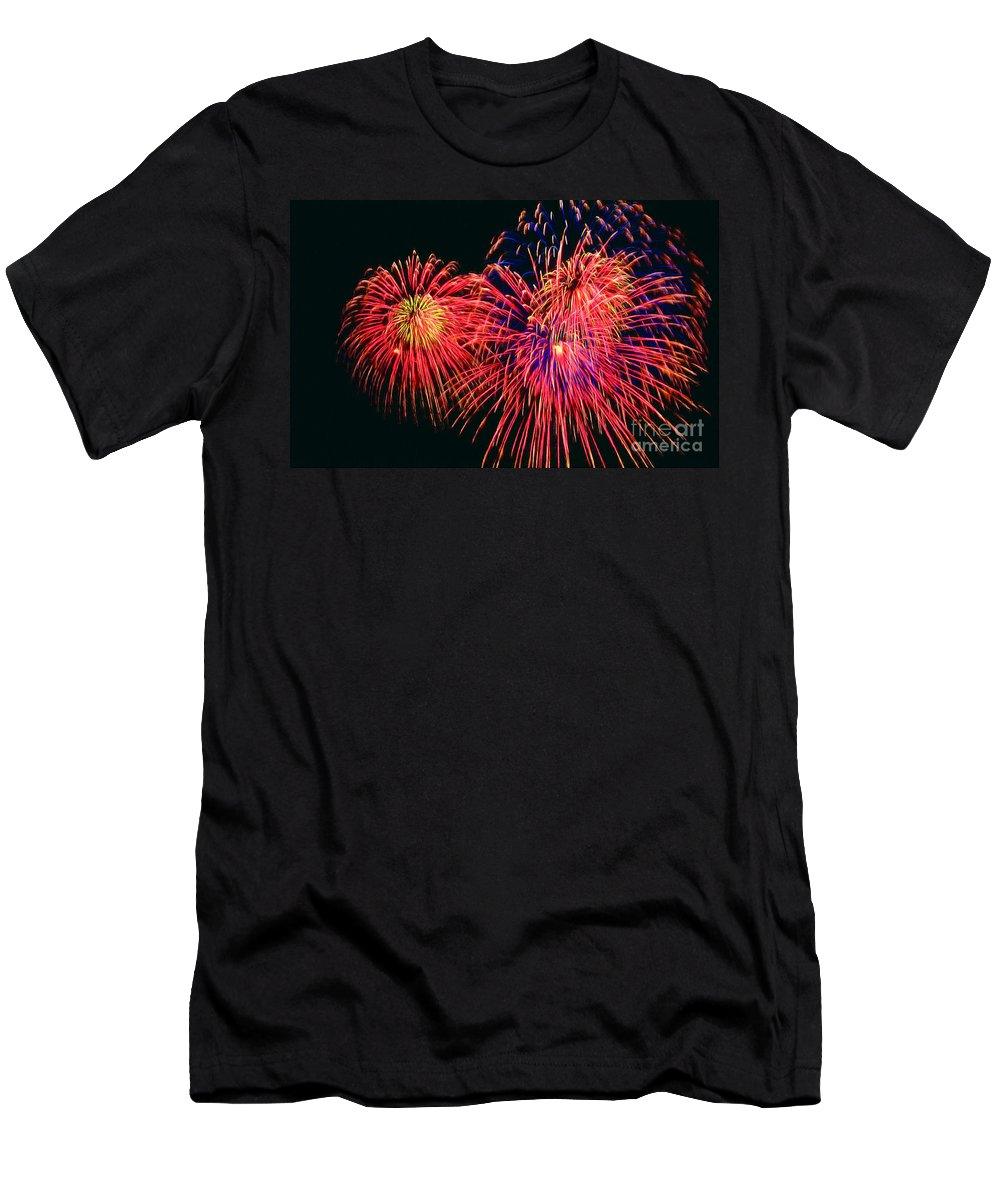 Beautiful Fireworks Men's T-Shirt (Athletic Fit) featuring the painting Beautiful Fireworks 14 by Jeelan Clark