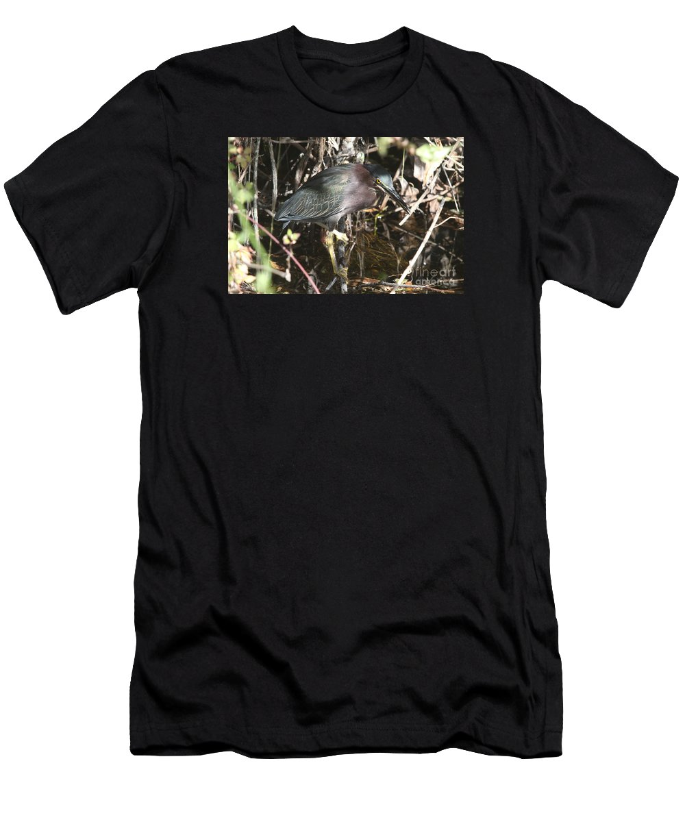 Little Green Heron Men's T-Shirt (Athletic Fit) featuring the photograph Beautiful Heron by Christiane Schulze Art And Photography