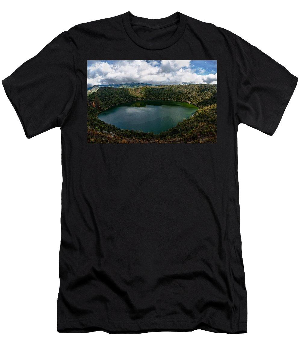 Lake Men's T-Shirt (Athletic Fit) featuring the photograph Beautiful Lake Guatavita by Jess Kraft