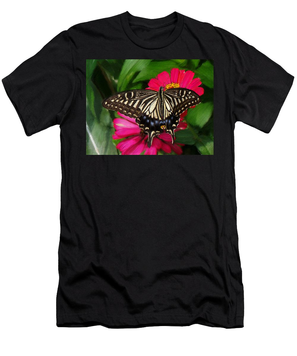 Swallowtail Men's T-Shirt (Athletic Fit) featuring the painting Beautiful Swallowtail Butterfly by Bruce Nutting