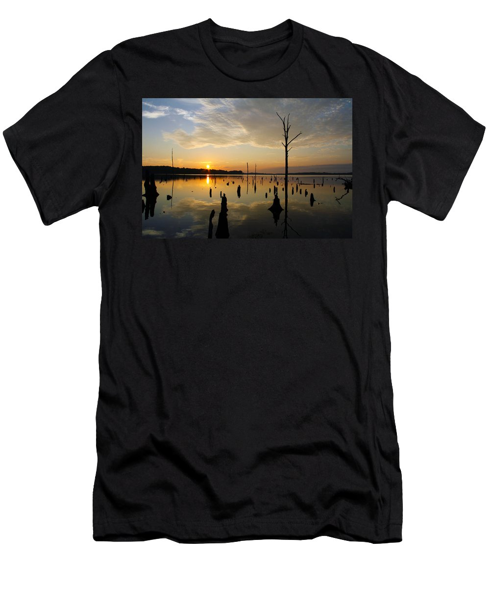 Sunrise Men's T-Shirt (Athletic Fit) featuring the photograph Beautiful Morning by Roger Becker