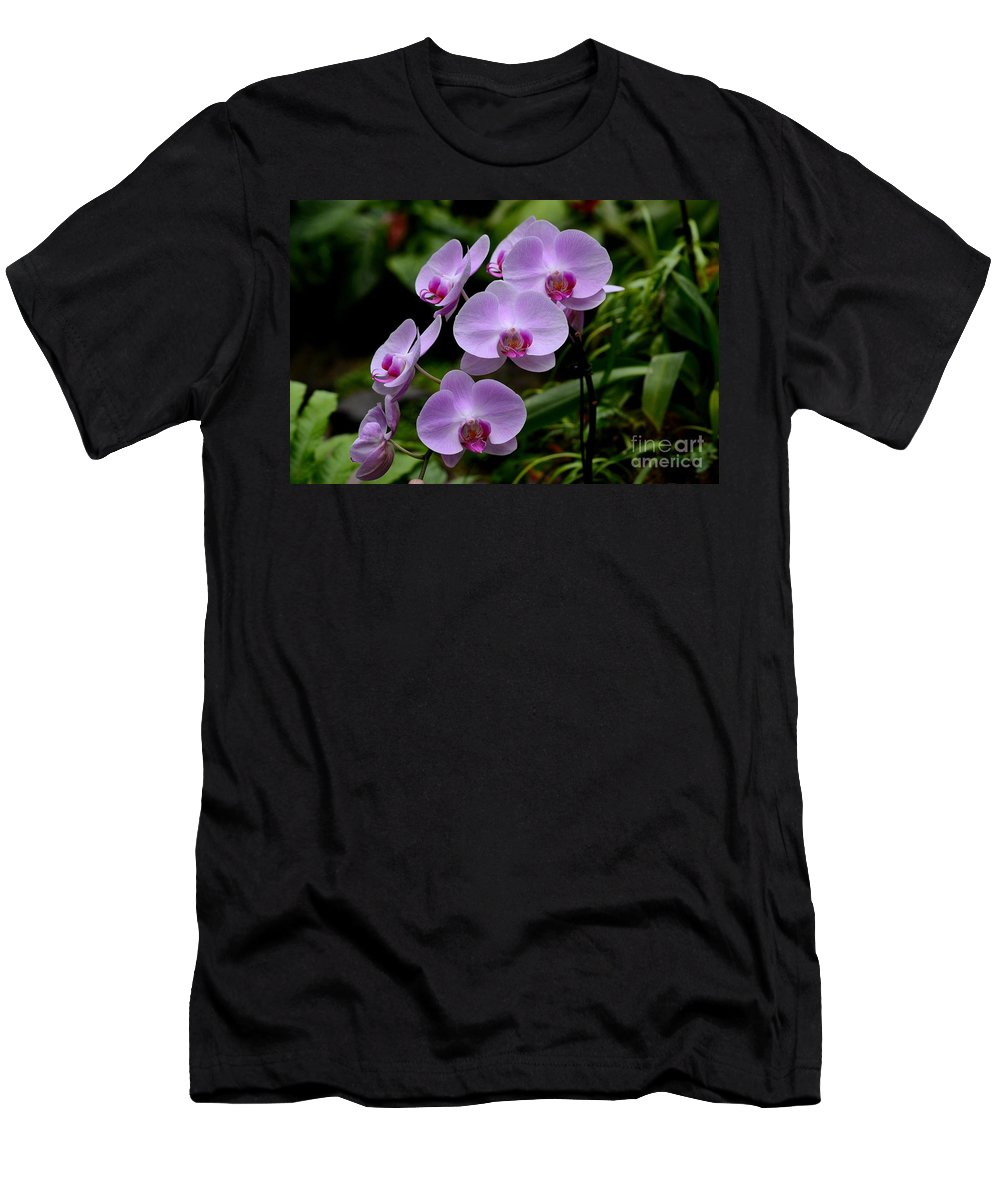 Orchid Men's T-Shirt (Athletic Fit) featuring the photograph Beautiful Violet Purple Orchid Flowers by Imran Ahmed