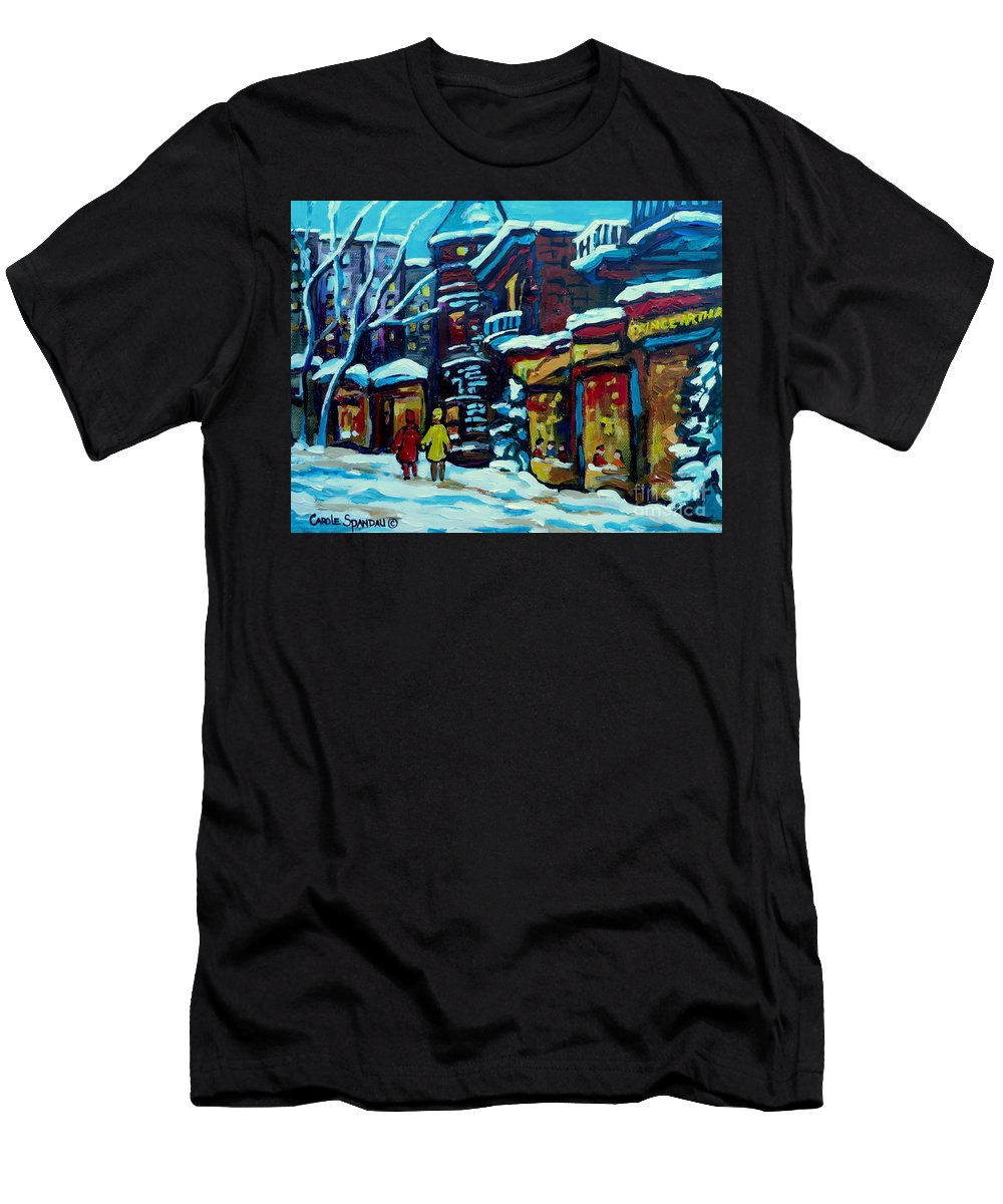Beautiful Winter Evening Men's T-Shirt (Athletic Fit) featuring the painting Beautiful Winter Evening by Carole Spandau