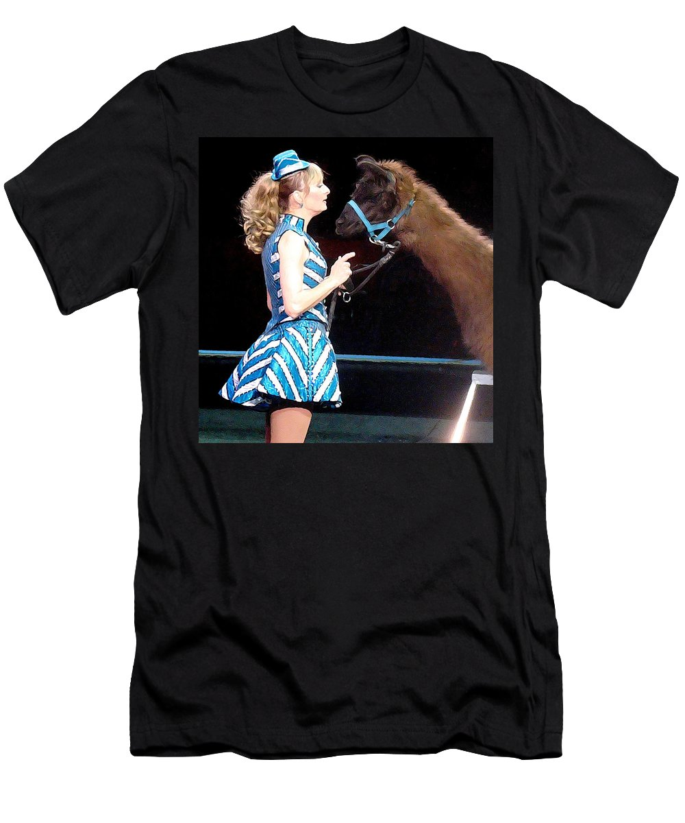 Circus Men's T-Shirt (Athletic Fit) featuring the photograph Beauty And Her Llama by Alice Gipson