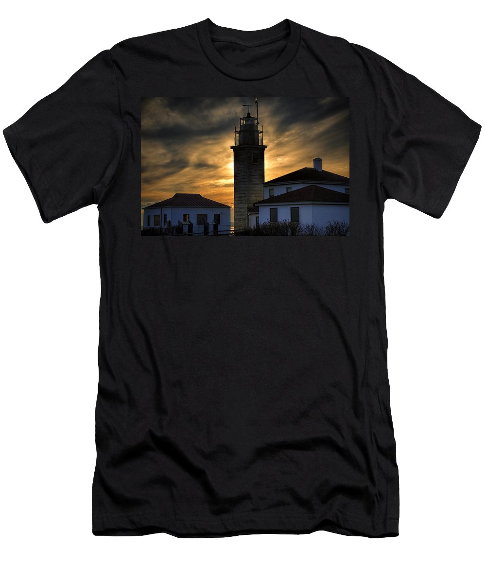 Beavertail Men's T-Shirt (Athletic Fit) featuring the photograph Beavertail Lighthouse Too by Joan Carroll