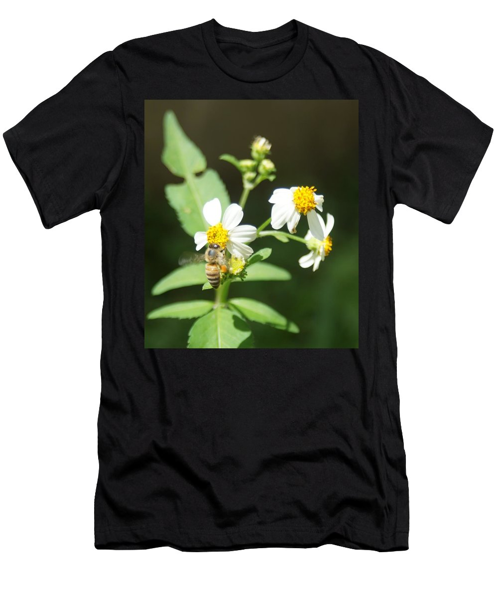 Bee Men's T-Shirt (Athletic Fit) featuring the photograph Bee-flower Pollen by Miguel Hernandez