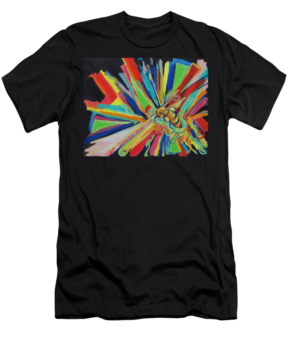 Bee Men's T-Shirt (Athletic Fit) featuring the painting Bee Sting by Jeff Seaberg