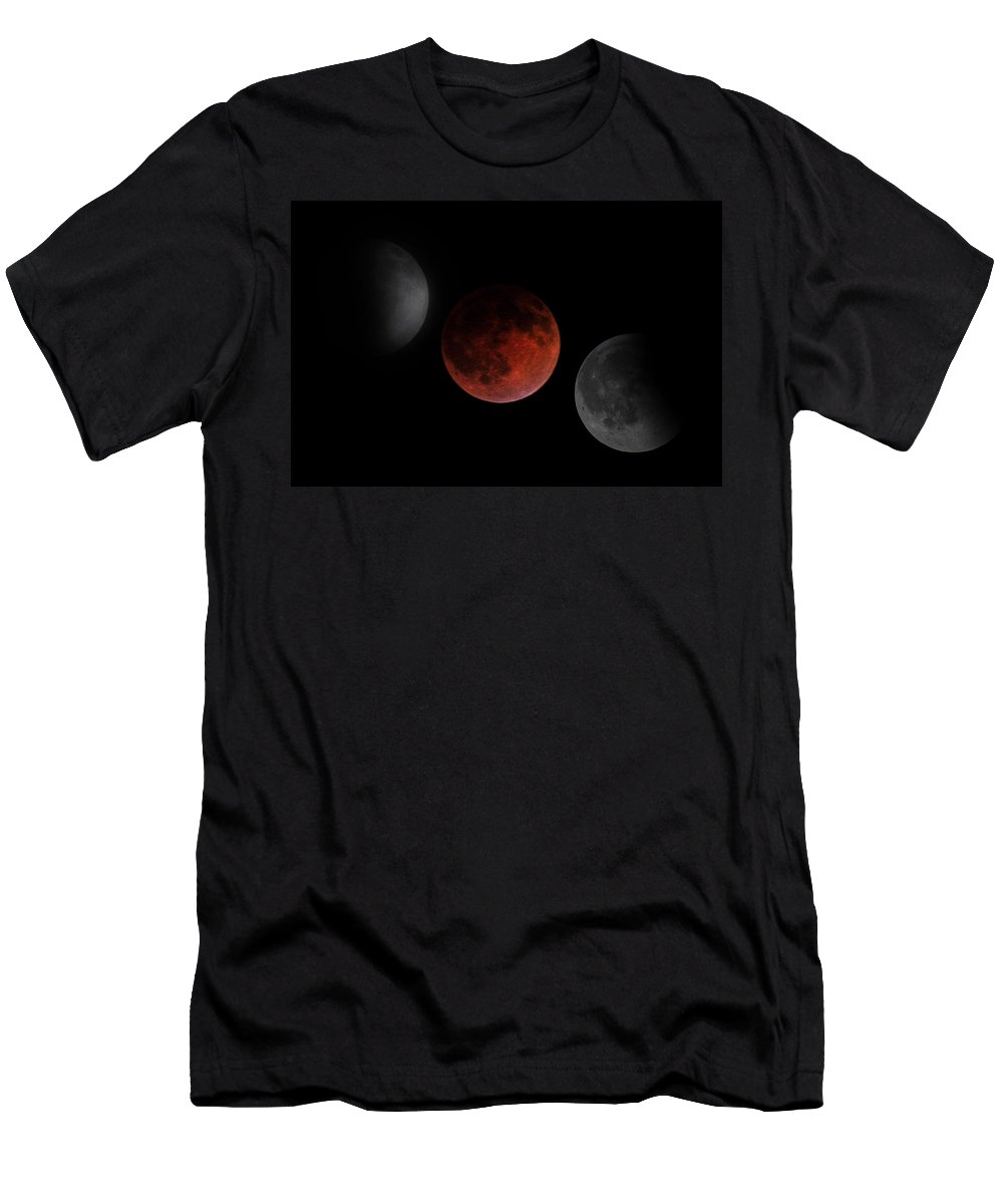 Lunar Eclipse Men's T-Shirt (Athletic Fit) featuring the photograph Before During After by Randy Hall