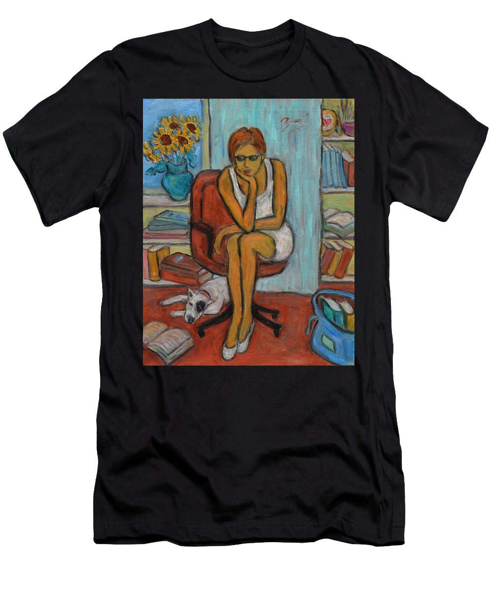 Learn Men's T-Shirt (Athletic Fit) featuring the painting Before Exams by Xueling Zou