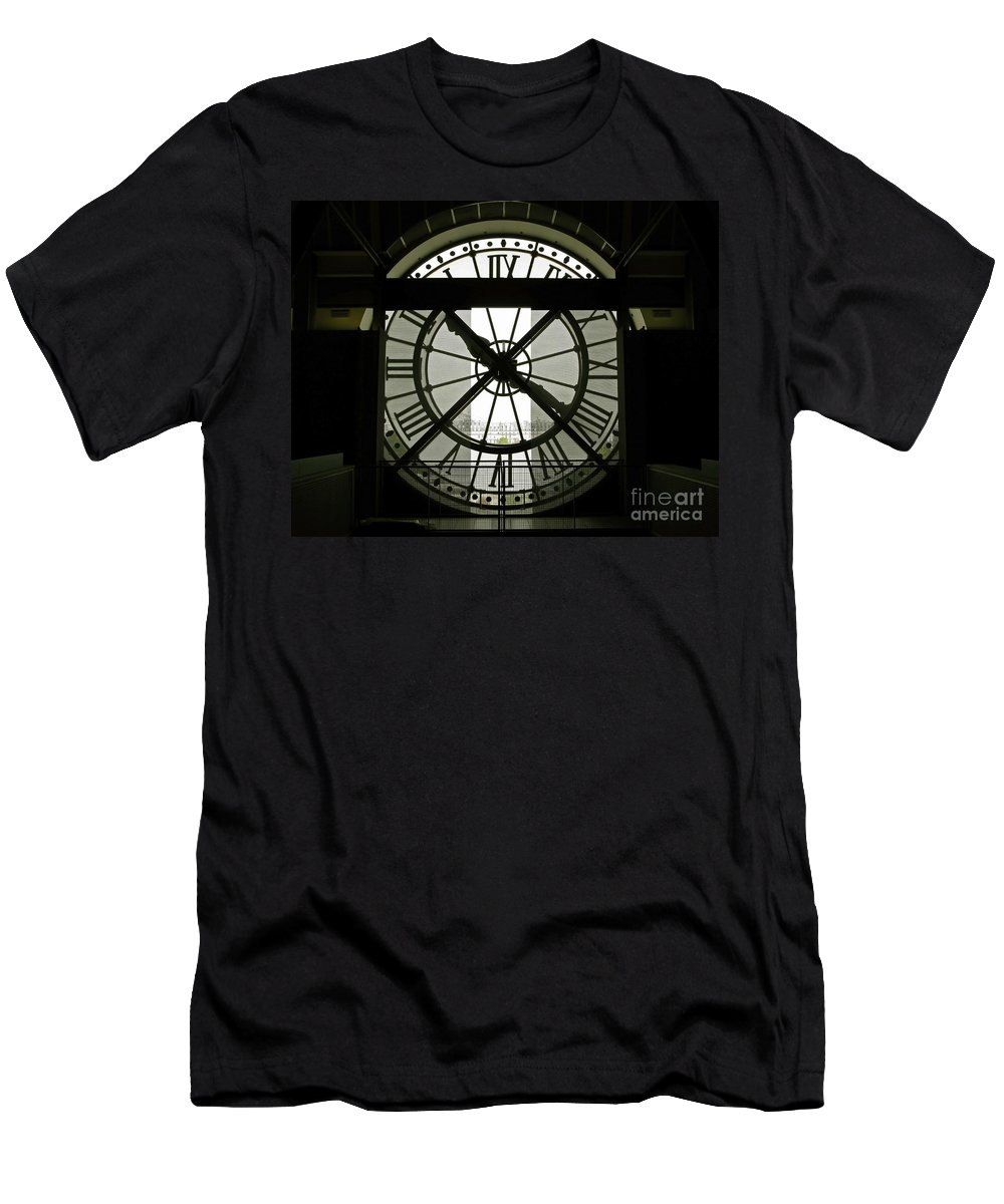 Clock Men's T-Shirt (Athletic Fit) featuring the photograph Behind Time by Ann Horn