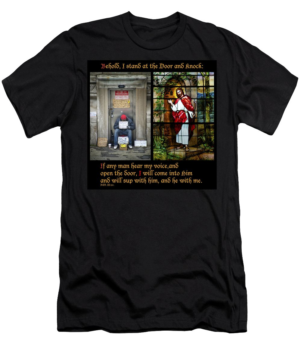 Abandoned Men's T-Shirt (Athletic Fit) featuring the photograph Behold I Stand At The Door And Knock Composite by Thomas Woolworth