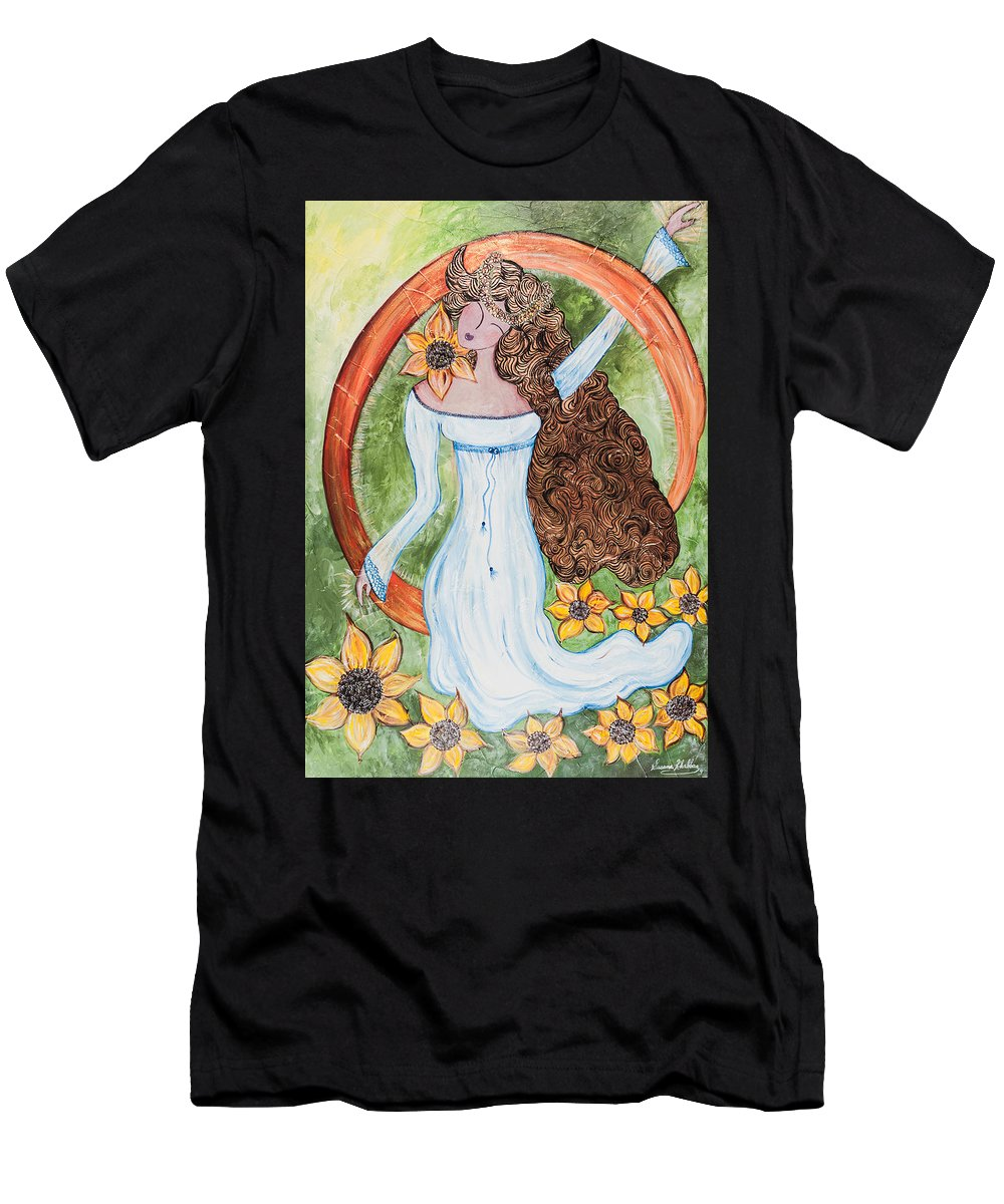 Amy Men's T-Shirt (Athletic Fit) featuring the painting Being Born Again by Susana Khabbaz