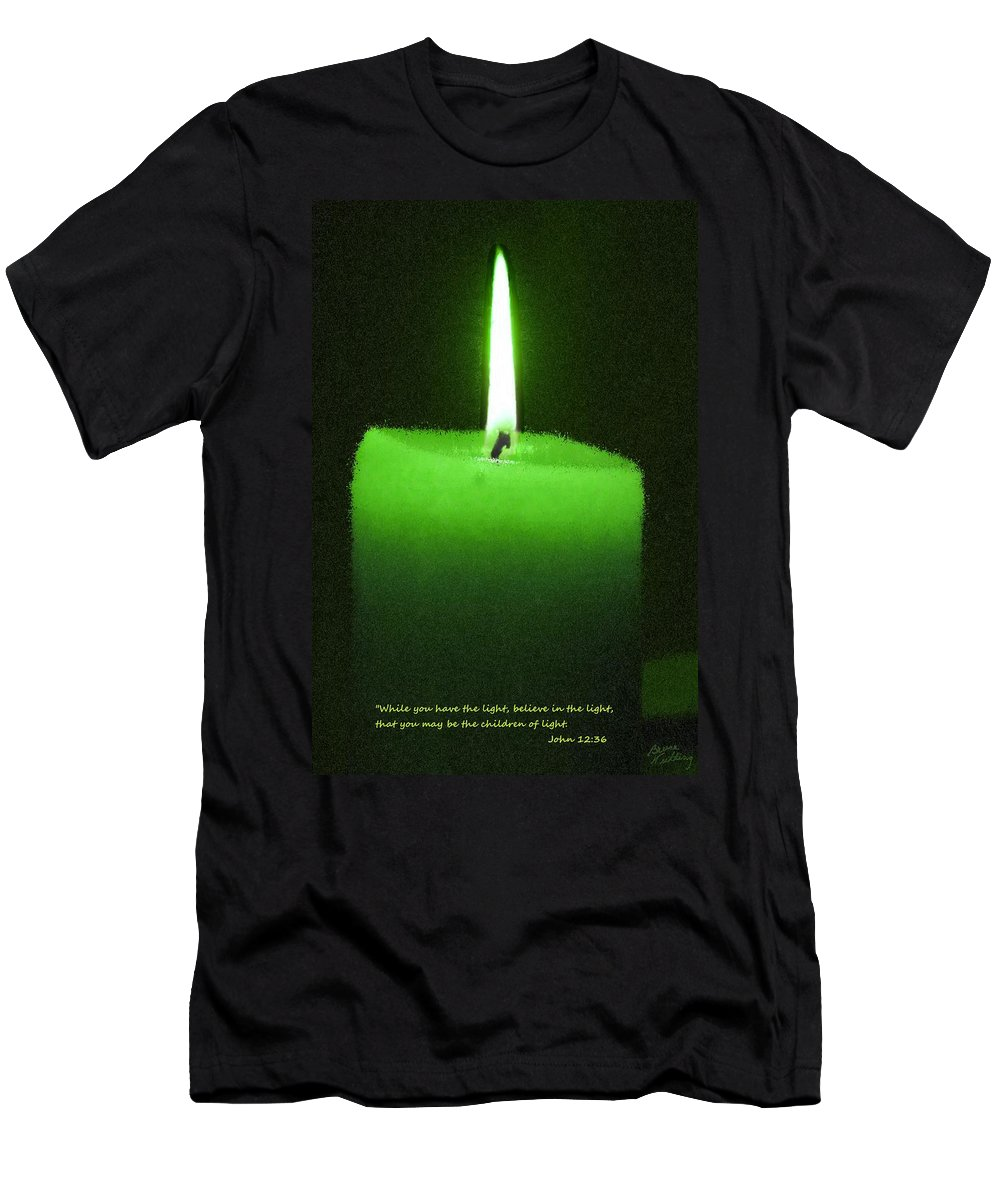 Green Men's T-Shirt (Athletic Fit) featuring the painting Believe In The Light by Bruce Nutting