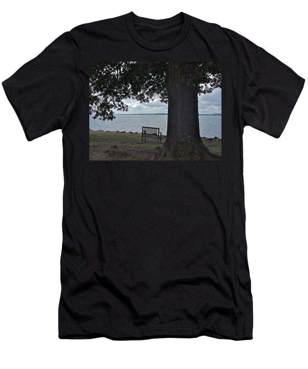Old Bench Men's T-Shirt (Athletic Fit) featuring the photograph Bench At Old Jamestown by Susan Wyman