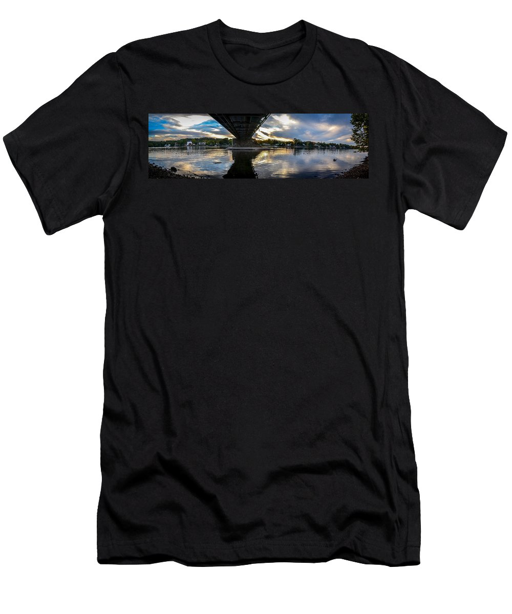 New Hope Lambertville Bridge Men's T-Shirt (Athletic Fit) featuring the photograph Beneath The New Hope - Lambertville Bridge by Michael Brooks