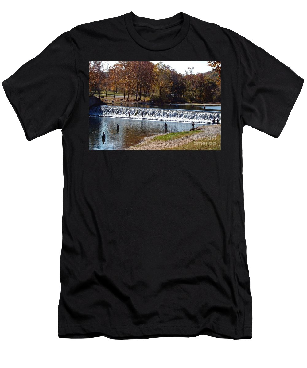 Bennett Springs Men's T-Shirt (Athletic Fit) featuring the photograph Bennett Springs Spillway by Sara Raber